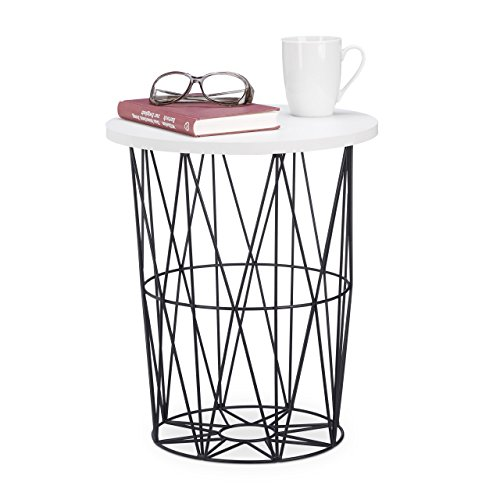 Relaxdays runder Beistelltisch mit Metallkorb, dekorativer Couchtisch, Wohnzimmertisch modern, 42cm hoch, weiß-schwarz -