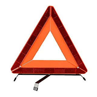 AYKRM Folding Car Warning Safety Triangle in Protective Plastic Case/Reflective Red Hazard EU Emergency Breakdown For Car, Van, Truck, Lorry (Orange, L)