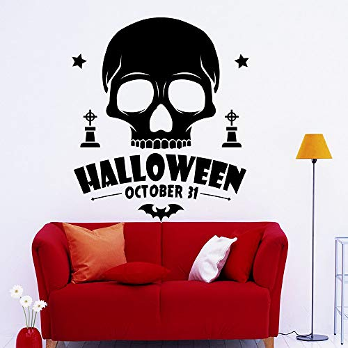 jiushizq Cool Black Skull Pattern Art Wandtattoos Home Wohnzimmer Urlaub Special Decor Schädel Kopf Mit Halloween Zitate Aufkleber Wm 60x68cm (Special Halloween Lego)