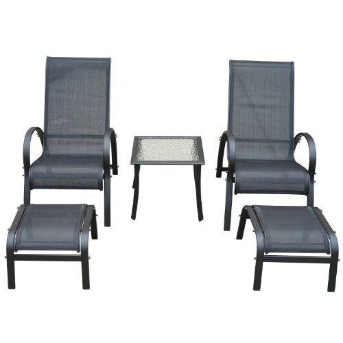 Galleria fotografica Outsunny, set di mobili da giaridino, 5pezzi, sdraio reclinabili, tavolino e poggiapiedi. Struttura in alluminio e tessuto in textilene nero