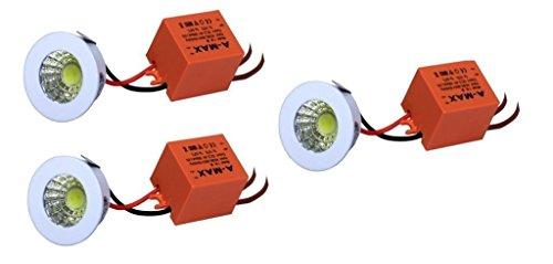 D'Mak 1 Watt LED COB/Spot Light/Button Light (Warm White) Round Driver Included Pack of 3   1w cob Light led    Decorative pop Lights  