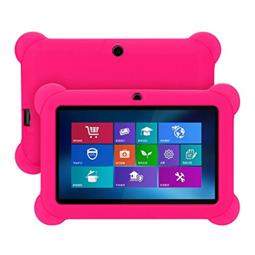 7in Tablet-gel-fall (7 Zoll Silikon Gel Schutzhülle Stoßfest Zurück Fall für Android Tablet Q88 Multicolor Optional (Hot Pink))