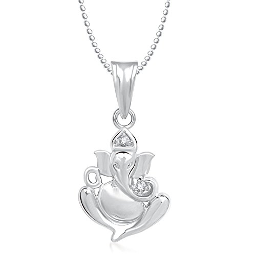 Cubic Zirconia Lord Ganesha Ganpati Unisex God Pendant With Chain by Piya PDSN11000648  available at amazon for Rs.199