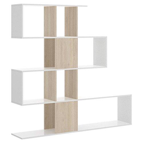LIQUIDATODO Estanteria de 4 Huecos Moderna 145 cm en Blanco Brillo y Natural, 1