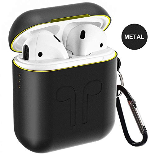 Airpods Case,Qcoqce Airpods Cover in Metallo,Leggero Impermeabile Antipolvere Custodia Airpods con Protective Metal Cover Silicone e Portachiavi per Apple Airpods (nero)