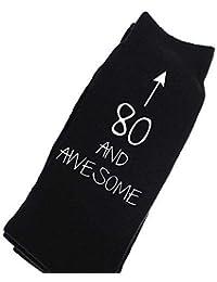 80 and Awesome Black Calf Socks Birthday Socks Christmas Present 80th Birthday