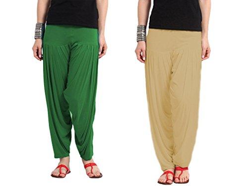 Nikita Women's Green and Beige Viscose Patiala Pants 2PC Combo