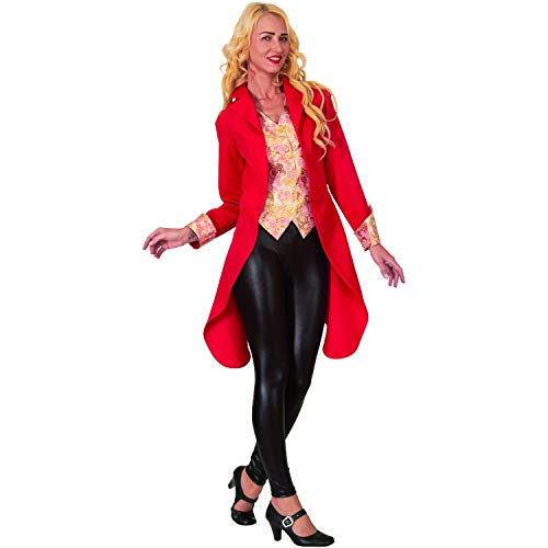 Weste Kostüm Rote - Mortino Damen Kostüm roter Showfrack mit Weste Damenfrack Zirkus Fasching (M)