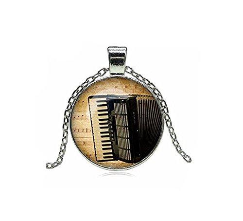 xinzhahi Vintage Akkordeon Glas Cabochon Anhänger Halskette Modeschmuck Gliederkette für Damen und Herren