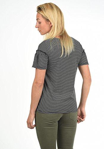 JACQUELINE de YONG Linn Damen T-Shirt Streifenshirt Oberteil mit Rundhals-Ausschnitt und Volant-Ärmel Aus Hochwertiger Materialqualität Black