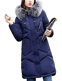 281c32ea8c6a Flabor+Winterjacke Damen Lang Mantel Schwarz Parka Damen Jacke Winter  Daunenjacke Outwear mit Fellkapuze