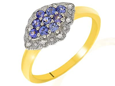 Ivy Gems 9ct Yellow Gold Tanzanite and Diamond Fancy Cluster Ring