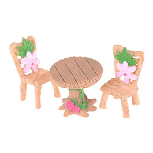 Kit, Miniatur Tisch Stühle DIY Dollhouse Fairy Garten Ornament ()