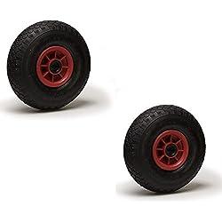 Lot de deux roues gonflables pour diable 3.00-4 (2PR), Diamètre 260 x 85 Alésage 20