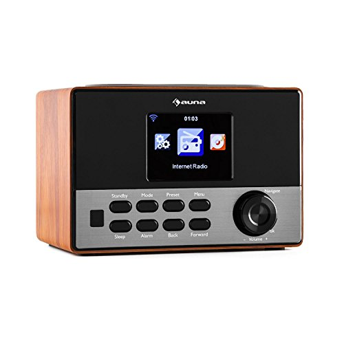 auna Connect 90 WN - Internetradio, Digitalradio, WLAN-Radio, Netzwerkplayer, AUX, Line-Ausgang, MP3-fähiger USB-Slot, Wecker, Farbdisplay, Dimmfunktion, Wetteranzeige, Holz, walnuss