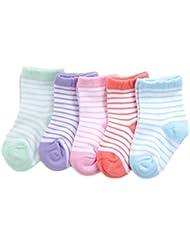 Fablcrew Chaussettes Bébé Enfants Mignons Chaussettes Rayées en Coton Unisexe Chaussettes d'hiver Lot de 5 Paires