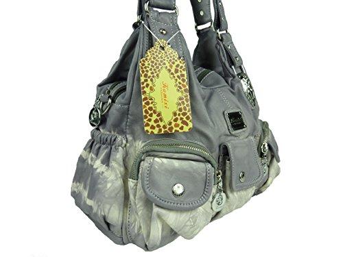 KUMIXI W7127 Damenhandtasche, unifarben Batik, Handtasche mit langen Tragegriffen 35x23x15 violett flieder