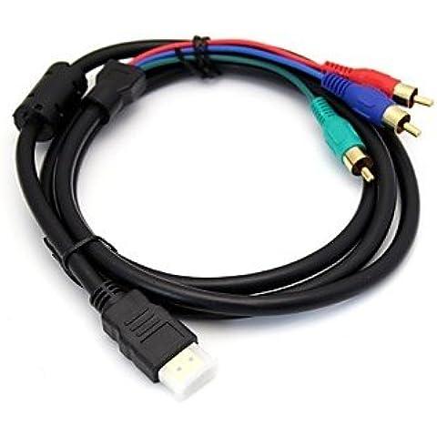 DNGY* 1080P HDMI v1.3 maschio a 3 RCA Audio Video AV Adattatore cavo nero (5FT / 1,5 M)