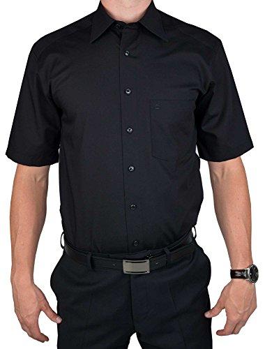 Herren Hemd Comfort Fit Kurzarm, 46, Farbe: Schwarz