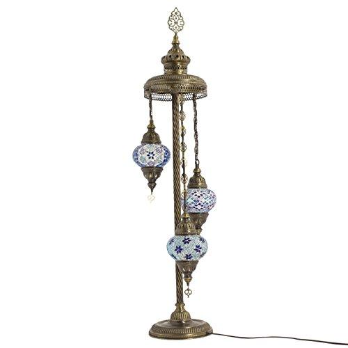 Türkische Mosaik Globe Stehlampe, Umwerfend im marokkanischen Stil, 3mittelgroße Globe Lampenschirm Blue Earth Serie von TK Bazaar -