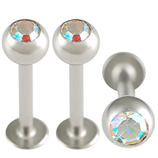 16g 16 Gauge 5/16 Surgical Steel Lip Bar Labret Ring Monroe Ear Tragus Stud 3mm ARGE Body Jewelry 3Pcs