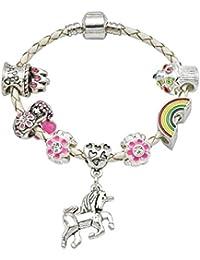 Jewellery Hut Girl's Cream Leather Unicorn Birthday Charm Bracelet with Gift Box and Unicorn Insert