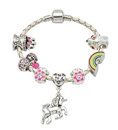 """Braccialetto con charm da bambina """"Unicorno"""", in cuoio color crema e scatola regalo, gioiello da bambina, placcato argento, cod. BRUNICORNCREAM"""