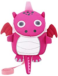 Kids Toddlers Cute Dinosaur Walking Safety Harness Backpack Baby Walker's Bag with Safety Reins Belts Travel Bag Cartoon Nursery School Bag for Baby Boys Girls, Rose Red B