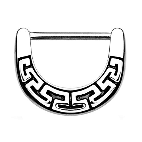 Piercingfaktor Brustpiercing Brustwarzen Intimpiercing Nippelpiercing Barbell Intim Nippel Brust Piercing Clicker Ring Aztec Tribal Schild Silber 1,6mm