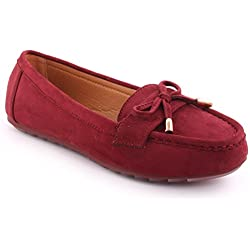 Unze Neue Damen 'Siri' Bow Sattel Detail Büro Casual Schule Moccasin Pumps Loafers Flat UK Größe 3-8 - 1Q3688-5