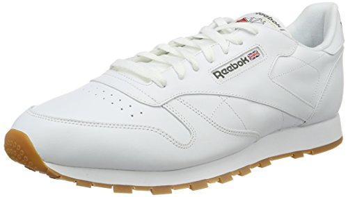 Reebok Men's Classic Leather Low-Top Sneakers, Off White (White/Gum), 12 UK