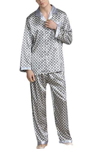 CuteRose Men Printed Plus-Size Pjs Charmeuse Relaxed-Fit Loungewear Set Argent L - Jersey-charmeuse
