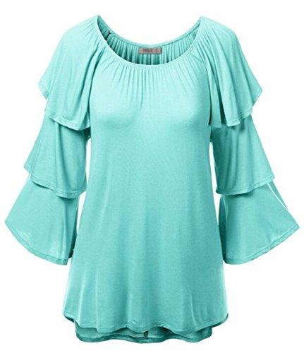 NiSeng Donna Manica Lunga Manicotto del Loto Giuntura Tinta Unita Collo Rotondo T-Shirt Camicia Maglietta Tunica Blu chiaro