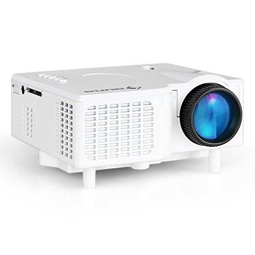 auna LCDP • Mini Beamer • LED-Projektor • portabel • AV-VGA-Eingang • Kontrast: 300:1 • 40 ANSI Lumen • Projektionsgröße: 43-152 cm • 230 oder 12 V-Betrieb • Fernbedienung • weiß