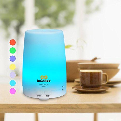 Diffusore di aromi | infinitoo diffusore di aromi ad ultrasuoni | Chiusura automatica | umidificatore a olio di aromi con 4 modalità di regolazione del tempo e 7 colore di DEL (300ml)