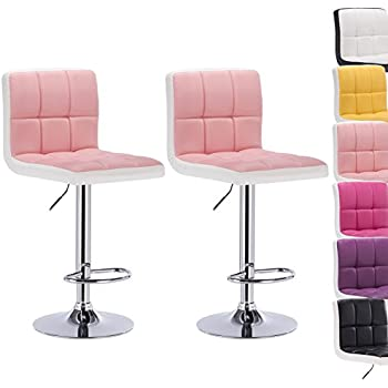 Woltu BH40rsw-2 set of 2 swivel bar stool synthetic leather height adjustable bar chair with backrest and footrest 2 coloured light pink+white  sc 1 st  Amazon UK & 2 x Pink Faux Leather Breakfast Cuban Bar Stools: Amazon.co.uk ... islam-shia.org