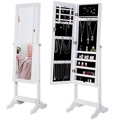 Deuba Schmuckschrank Mit Spiegel Weiß Stehend & Abschließbar Standspiegel Spiegelschrank Schmuckkasten Schmuckregal