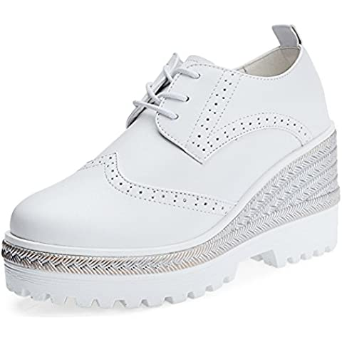 primavera scarpe/ tie-back piattaforma scarpe da donna/Piattaforma scarpe zeppe scarpe/Bloch Scarpe da donna/ testa tonda (Plaid High Heel)