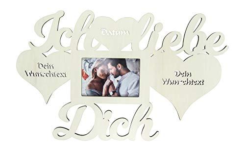 Ich liebe dich Geschenke für Männer mit Name und Texte Gravur Wand Foto Bilderrahmen Herzen Partner 10x15 cm Ehepaar Paar Pärchen Frauen Freundin Frau Ehefrau Herz Valentinstag personalisiert