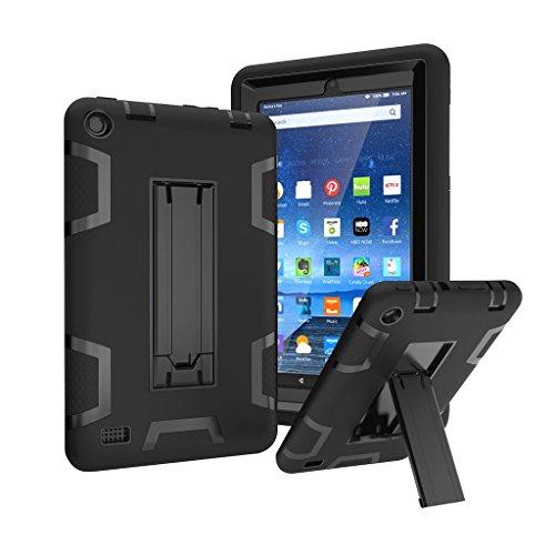 Outdoor Robuste Stoßfest Hülle mit Ständer für Amazon Fire 7 Zoll (5. Generation - 2015 Modell) Tablet - Aohro 3in1 PC Plastik + Silikon Schutzhülle Shockproof Case Cover,Schwarz + Schwarz