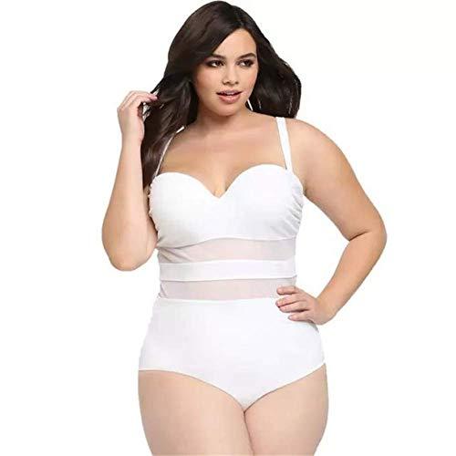 Susichou Plus fetten großen einteiligen Badeanzug Reine Farbe Maschengarn Nähte Dicke Frau Bikini (White,XXXL) -