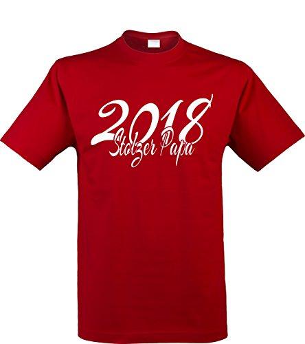 Klamottenkiste24 Herren T-Shirt, Stolzer Papa 2018, Rot, Gr. ()