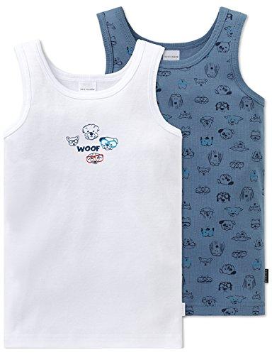 Schiesser Jungen Multipack 2pack Hemd 0/0 Unterhemd, Mehrfarbig (Sortiert 19), 128 (2er Pack)