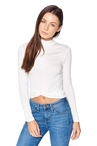 Khanomak Frauen Langarm-Mock Neck Twist Vorder Crop Top (Elfenbein, Medium) -