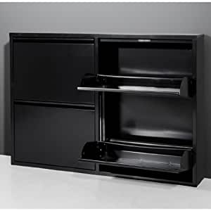 Dual Black 2 Tiered Metal Shoe Cabinet, 5267-83 [5267-83]