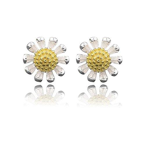 lanaso gelb sonnenblume unterschiedliche die Ohrstecker Sterling Silber Ohrringe Schmuck Schnallen Geschenke für Mädchen