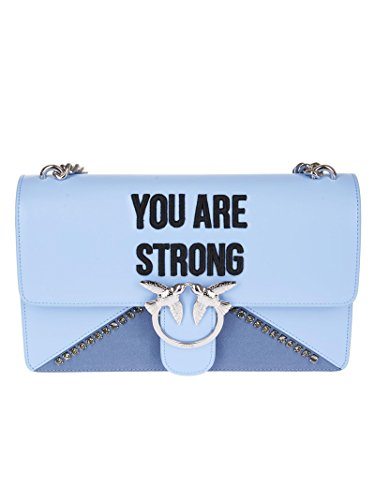 PINKO Damen Accessoires Angel Bag Tasche You Are Strong Hellblau Leder Spring Summer 2018
