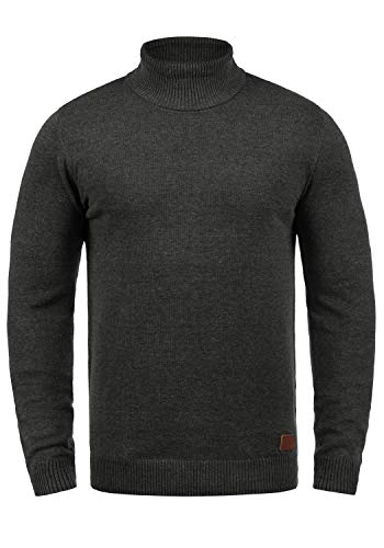 BLEND Latif Herren Rollkragenpullover Pullover Strickpullover Mit Rollkragen, Größe:L, Farbe:Charcoal (70818) -