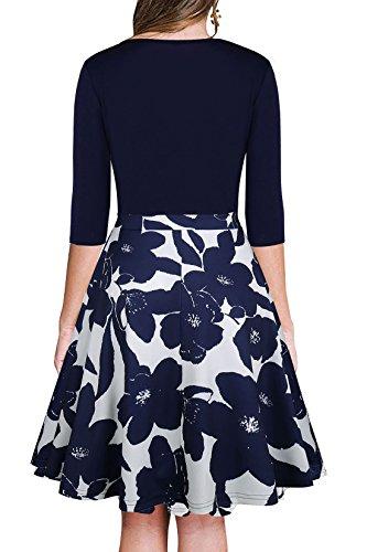 Blumendruck kleid, LLQ Sommerkleid Knielang V-Ausschnitt Strandkleid Damen Casual Kleid Blau