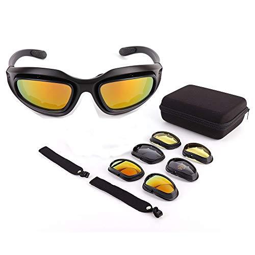 ISSYZONE Motorrad Brille UV-Schutz Polarisierte Sonnenbrille Motorradbrille Sportbrille Schutzbrille Motorrad Gläser 4 Lens Kit mit Aufbewahrungstasche Ideal für Fahrrad Moto Wandern Outdoor Sport